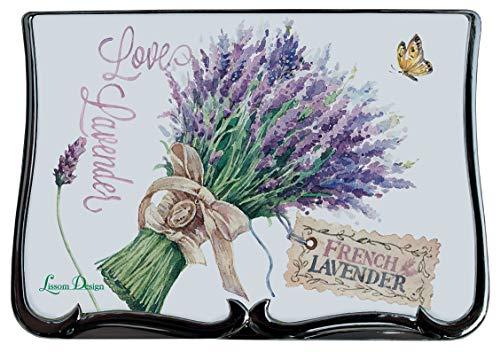 Lissom Design Deluxe Compact Mirror, 3.5 x 2.63-inches, Lavender Allure