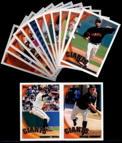 (2010 Topps Baseball Cards San Francisco Giants Team Set with Ultra Pro 4 Pocket Notebook - 14 Cards including 2 Tim Lincecum cards, Posey, Runzler, Cain, Rowand, Sanchez, Uribe, Zito & more)
