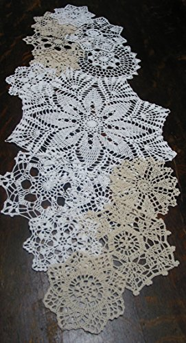 "Set of 14 Proffer Crochet Doilies 5""-7""-14"" White & Natural"