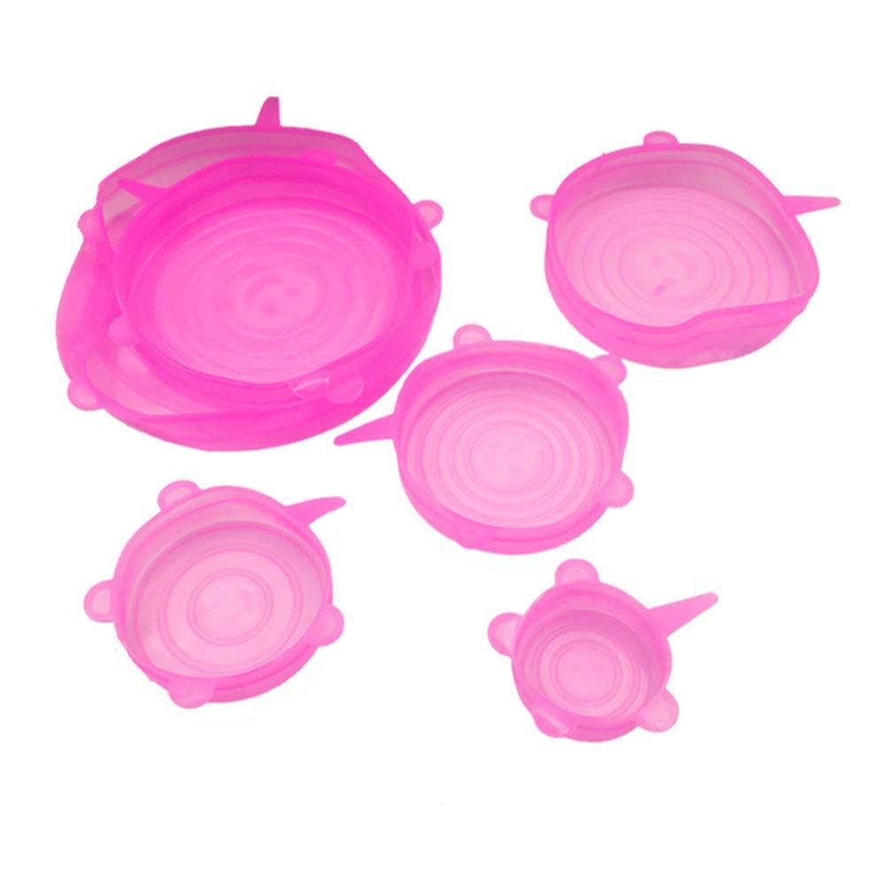 Rose 6 Pcs Silicone /Étirable Bol Couvercle Aliments R/éutilisables Frais Garder La Couverture R/étractable Fruits Conservation Cap Flexible Joint De Couvercle Plat R/éfrig/érateur Cuisine Accessoires