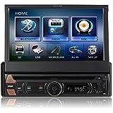 TUVVA KSD7813 1-DIN Autoradio multimedia avec MHL Smartphone connectivité 7 pouces Écran tactile capacitif motorisé DVD/CD/USB/SD/AV IN/MP4/MP3 RDS Radio, Streaming Audio Bluetooth pour des appels mains libres avec télécommande