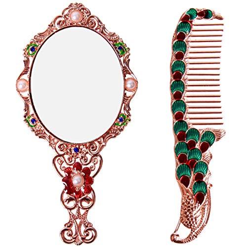 - Vintage Hand Mirror Comb Set Metal Handheld Mirror Oval Peacock Flower Hand Held Mirror Gift Cute Girl Vanity Makeup Round Mirror Travel Mirror Rose Copper
