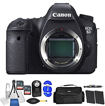 Canon Eos 6D Body Only DSLR Camera  Black  2X Double Accessory Bundle Package Deal Digital Cameras