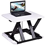 Tangkula Standing Desk Home Office 8 Height Adjustable Riser Sit-Stand Laptop Desk (White)