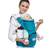 Angelcare Baby&Child Hip Seat Backpack Carrier,Ergonomic Design,Soft Touch,6 Carrying Positions,100% Organic Cotton,Adjustable Carrying Strap,Extra 2 Teething Pads(Green Blue)