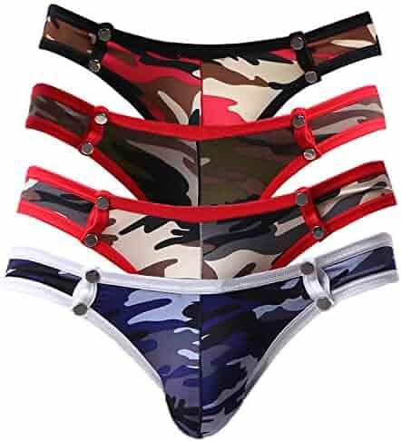 41a145e9f909 Pdbokew Men's Bikini Underwear Super Elastic Nylon Bikini Briefs with Button