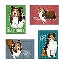 Pop Doggie Shetland Sheepdog Sheltie Refrigerator Magnets with Funny Sayings (Set of 4)