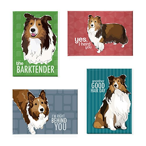 (Sheltie Gifts Set of 4 Refrigerator Magnets with Funny Sayings, Shetland Sheepdog Sheltie Art, Funny Dogs Fridge Magnets Pack)