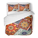 SanChic Duvet Cover Set Patchwork Pattern in Ethnic Style with Flowers Mandalas Indian Mexican Moroccan Motives Design Carpet Decorative Bedding Set with 2 Pillow Shams King Size