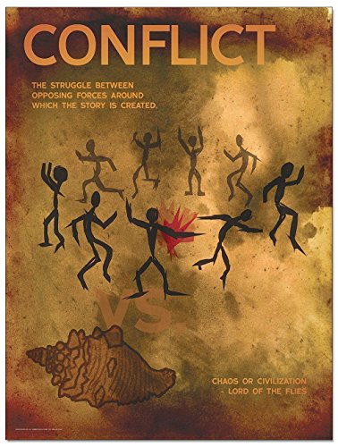 Conflict An Element of a Novel. Educational Classroom Poster featuring Lord of the Flies by William Golding. Fine Art Paper, Laminated, or Framed. Multiple Sizes Available