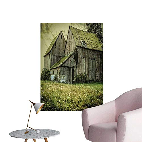 Country Mural Decoration Farmer Field Barn Warehouse Midwest American Style Antique Ancient Artwork PrintMulticolor W32 xL36 Cool Poster