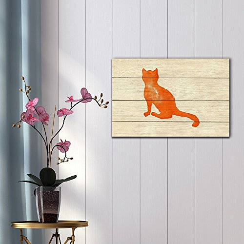 Silhouettes of Cats Made with Watercolor on Light Yellow Backaground