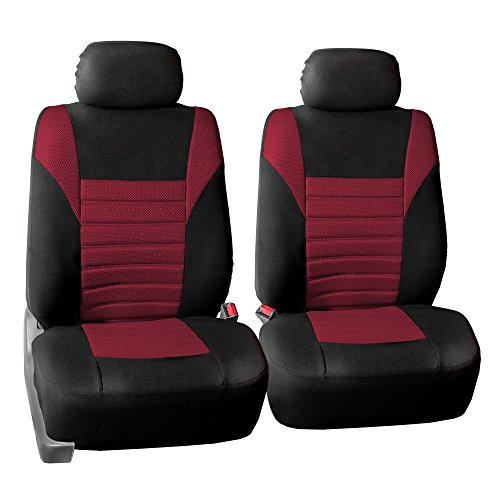 FH Group FH-FB068102 Premium 3D Air Mesh Seat Covers Pair Set (Airbag Compatible), Burgundy/Black Color- Fit Most Car, Truck, SUV, or Van ()