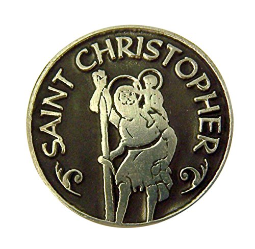 Silver and Black Tone Patron of Travelers Saint Christopher Devotional Prayer Token, 1 1/8 Inch by Religious Gifts (Image #1)