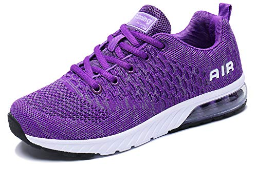 PENGCHENG Men Women Air Cushion Running Shoes Tennis Fitness Gym Lightweight Sneakers Purple
