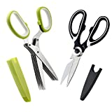 Kitchen Shears and Herb Scissors Set - Heavy Duty Easy Function Come Apart Multipurpose Culinary Scissors in Stainless Steel with Blade Covers for Meat Poultry Fish Herbs Nuts by COMPV