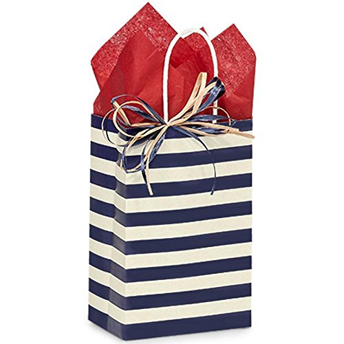 Blue Indigo Stripe Paper Shopping Bags - Rose Size - 5 1/2 x 3 1/4 x 8 3/8in. - 150 pack by NW