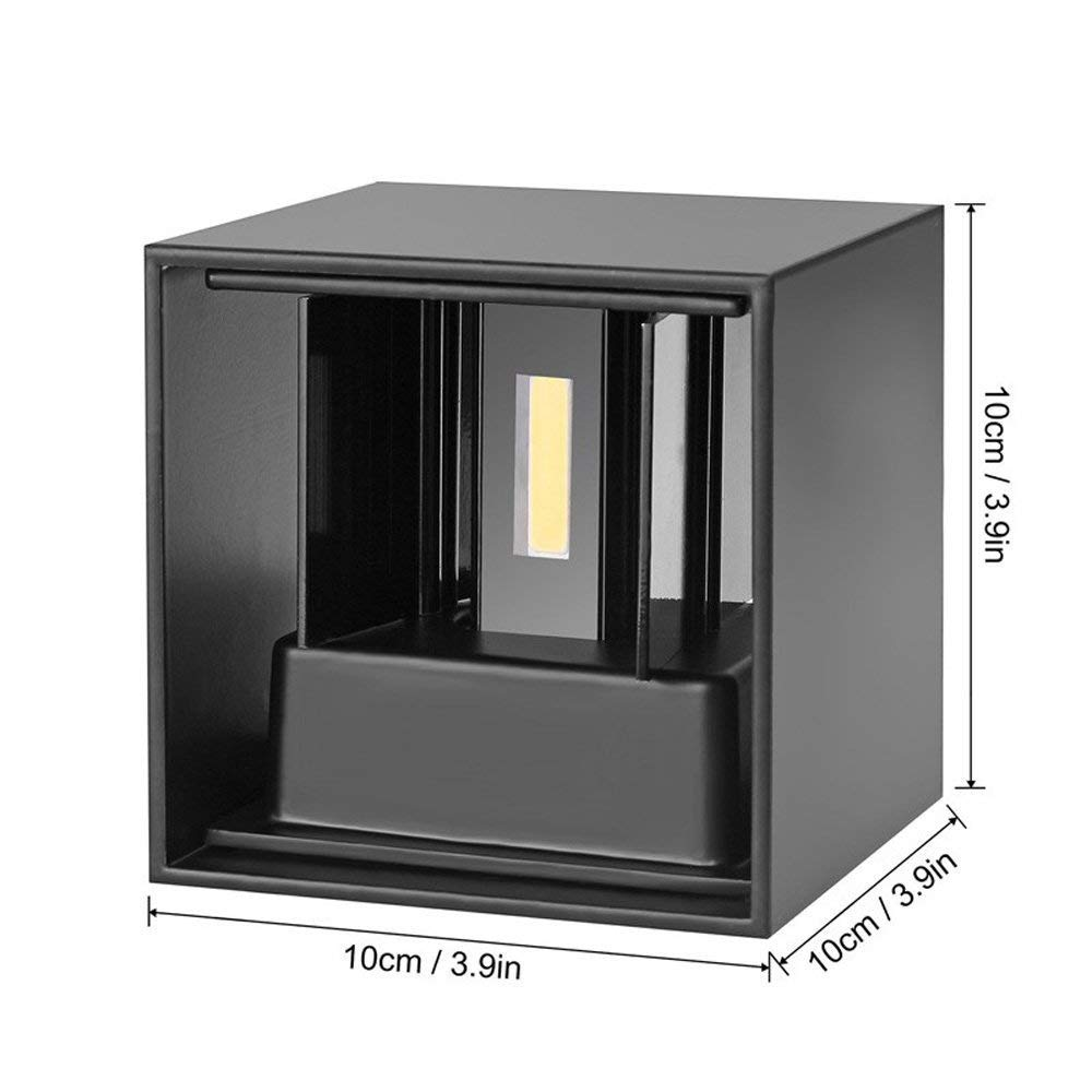 VIPMOON LED Aluminum Waterproof Wall Lamp,IP65 Waterproof LED Modern Wall Light,Outdoor Light Black 6W AC85-265V 3000K Adjustable Outdoor Wall Light Warm White Light for Bedroom Kitchen Restaurant
