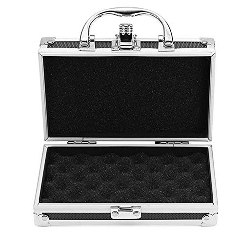 Aluminum Alloy Flight Case Hard Carry Tool Organiser Watertight Photography Equipment Tool Box with Foam Insert(S:180x110x55mm)