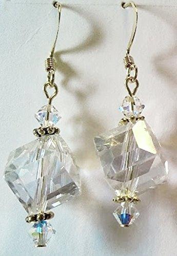 Aurora Borealis Vintage Obtuse Crystal Earrings