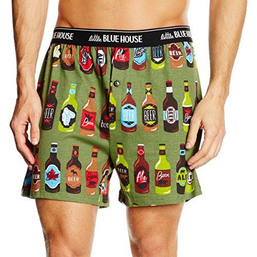Little Blue House By Hatley Men's Classic Printed Boxer Shorts, Beer Bottles, X-Large