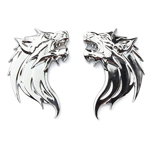 - TK-KLZ 2Pcs/Pair 3D Metal Wolf Head Car Side Fender Rear Trunk Emblem Badge Sticker Decals for JEEP Dodge Mercedes BMW Mustang Volvo Chevrolet Nissan Audi VW Ford Honda Toyota Jaguar (Wolf Silver)