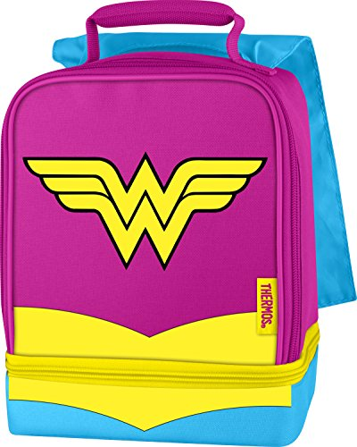 Box School Womens (Thermos Dual Compartment Lunch Kit, Wonder Woman with Cape)