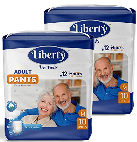 Liberty Adult Diaper Pants, Medium 10's Pack (65-85 Cms | 26-33 Inches) (Pack of 2)