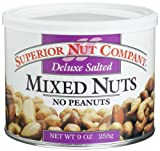 Superior Nut Deluxe Salte Mixed Nuts No Peanuts, 9-Ounce Canisters (Pack of 6) Review