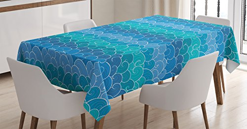Ambesonne Nautical Decor Tablecloth, Waves Cartoon sea Shipping Transport Ornament Decorating Nature Waterscape, Rectangular Table Cover for Dining Room Kitchen, 60x84 Inch, Blue Teal Turquoise