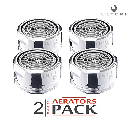 1.5 Kitchen Sink (Aerator for Kitchen, Bathroom Faucet, Water Saving Flow 1.5 GMP, Brass, Polished Chrome (2 Pack: 15/16''))