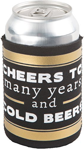 The We Do Crew - Cheers to Many Years and Cold Beers Black and Gold Wedding Insulated Beer Bottle / Beer Can Sleeve ()