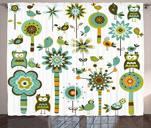"Ambesonne Modern Curtains, Graphic Cartoon Style Shaped Image Birds Florals Trees Geometrical Artwork Print, Living Room Bedroom Window Drapes 2 Panel Set, 108"" X 96"", Seafoam"