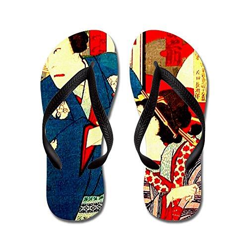 Cafepress Vintage Giapponese Woodbloc Kabuki Geisha - Infradito, Divertenti Sandali Infradito, Sandali Da Spiaggia Neri