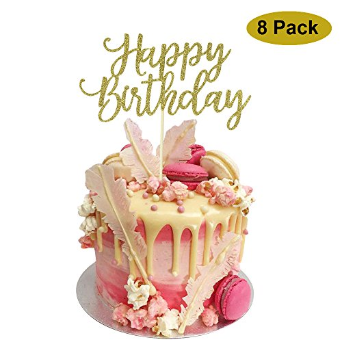 8 Pack Happy Birthday Cake Topper, 1st First Happy Birthday Cupcake Topper, Glitter Gold (Cake Toppers For Birthday)