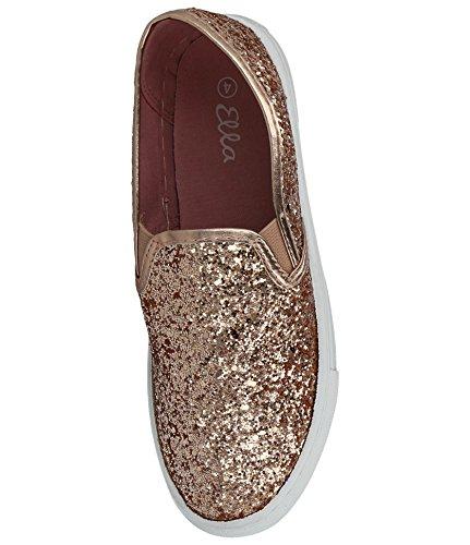 Ladies ELLA Glitter Pumps Slip On Low Top Flat Espadrille Plimsoll Trainers Shoes Size 3-8 Gold E4fg7