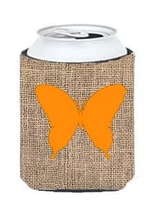 Caroline's Treasures BB1048-BL-OR-CC Butterfly Burlap and Orange Can or Bottle Koozie Hugger, Multicolor