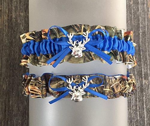 Sexy Camouflage Royal Blue Camo Satin Wedding Keepsake Or Bridal Garter SET - Deer Head -