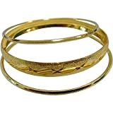 Women's Traditional Indian Belly Dance Gold-Toned Brass Stacked Bangle Bracelet Three Piece Set
