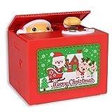 Stealing Coin Santa Claus Box, Samapet Piggy Bank Merry Christmas Automatic Cents Grabing Eating Funny Money Saving Box
