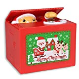 Stealing Coin Santa Claus Box, Samapet Piggy Bank Merry Christmas Automatic Cents Grabing