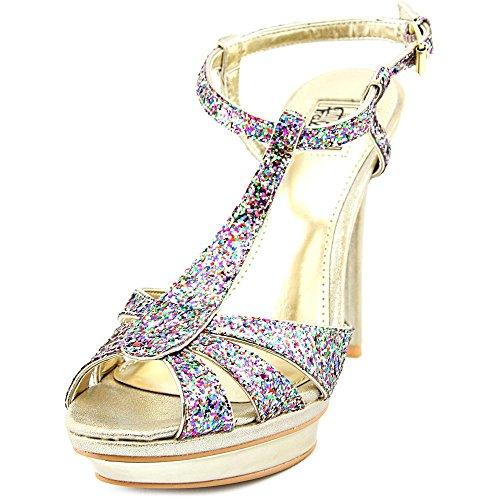 Carlos Falchi Womens Natalie Open Toe Ankle Strap Platform Pumps Multi/Light Gold IJWLzS