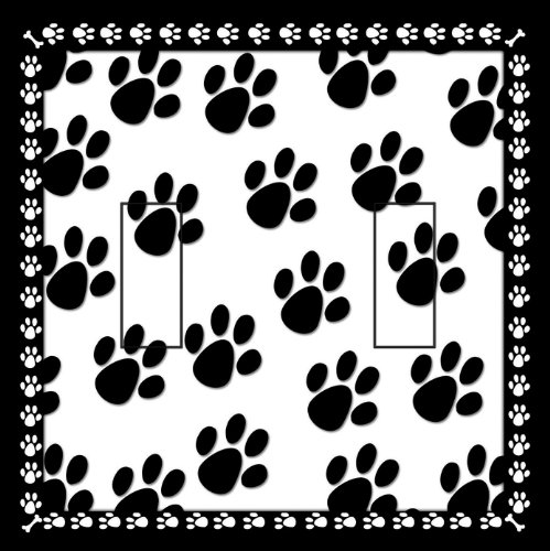 SwitchStix Dog Paw Prints Double Toggle Peel and Stick Switch Plate Cover Décor