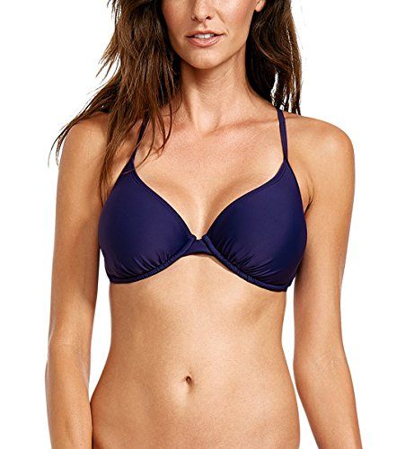 Top Underwire Bra (Body Glove Women's Smoothies Solo Solid Underwire D, DD, E, F Cup Bikini Top Swimsuit, Midnight)