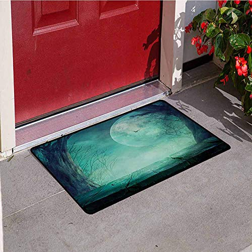 Jinguizi Halloween Commercial Grade Entrance mat Spooky Teal Forest Moon and Vain Branches Mystical Haunted Horror Rustic Imagery Print for entrances garages patios W47.2 x L60 Inch -
