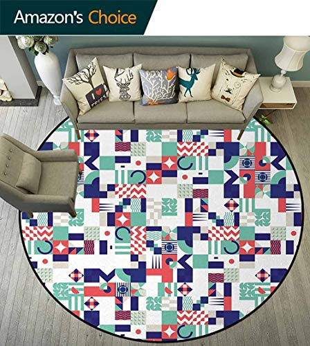 DESPKON-HOME Mid Century Round Area Rugs Bedroom,Rich Contemporary Collection of Funky and Pastel Shapes Lifts Basket Swivel Chair Pad Coffee Table Rug Round-59 Inch,Mint Green Navy Blue Dark Coral ()
