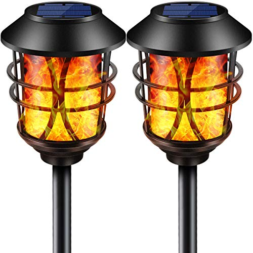 (TomCare Solar Lights Metal Flickering Flame Solar Torches Lights Waterproof Outdoor Heavy Duty Lighting Solar Pathway Lights Landscape Lighting Dusk to Dawn Auto On/Off for Garden Patio Yard, 2 Pack)