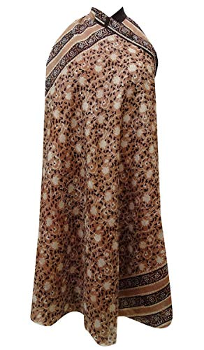 Indianbeautifulart Les Femmes Check Imprimer Pure Soie Vintage Saree rversible Rouge Wrap Summer Beach Dress Rose Brown & Orange Moyen