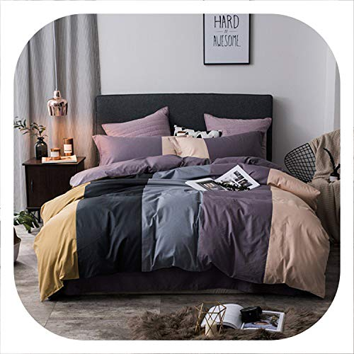 Memoirs- 100% Cotton Coffee Grey Purple Green Pink Bedding Set Twin Queen King Size Kids Adults Duvet Cover Bed Sheets Set parure de lit,Color 3,Twin Size 4pcs ()