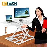 "Slendor Air Rise Standing Desk Converter 32"" x 22"" Extra Large Sit to Stand Height Adjustable Desk Converter Work Station Easy Lift"